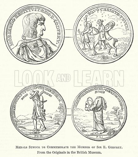 Medals Struck to Commemorate the Murder of Sir E Godfrey. Illustration for The Pictorial History of England (W & R Chambers, 1858).