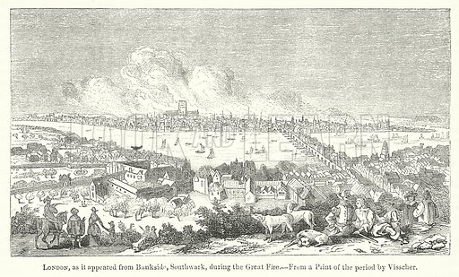 London, as it appeared from Bankside, Southwark, during the Great Fire. Illustration for The Pictorial History of England (W & R Chambers, 1858).
