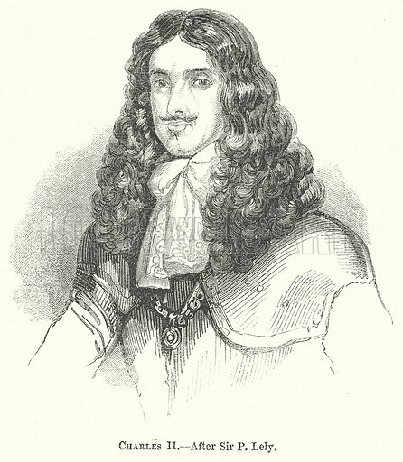 Charles II. Illustration for The Pictorial History of England (W & R Chambers, 1858).