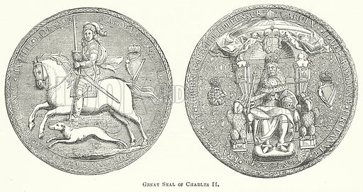 Great Seal of Charles II. Illustration for The Pictorial History of England (W & R Chambers, 1858).