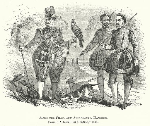 James the First, and Attendants, Hawking. Illustration for The Pictorial History of England (W & R Chambers, 1858).