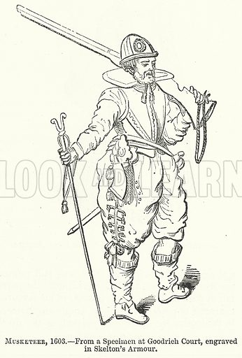 Musketeer, 1603. Illustration for The Pictorial History of England (W & R Chambers, 1858).