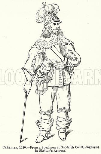 Cavalier, 1620. Illustration for The Pictorial History of England (W & R Chambers, 1858).