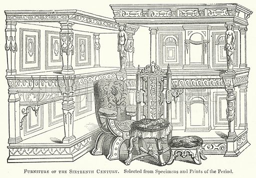 Furniture of the Sixteenth Century. Illustration for The Pictorial History of England (W & R Chambers, 1858).