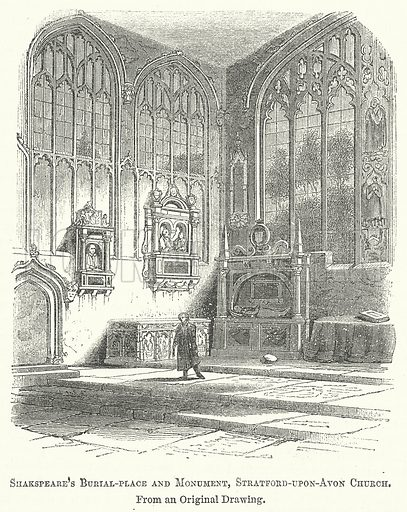 Shakspeare's Burial-Place and Monument, Stratford-upon-Avon Church. Illustration for The Pictorial History of England (W & R Chambers, 1858).