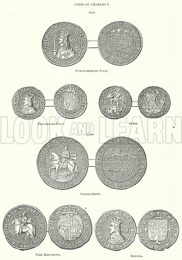 Coins of Charles I. Illustration for The Pictorial History of England (W & R Chambers, 1858).