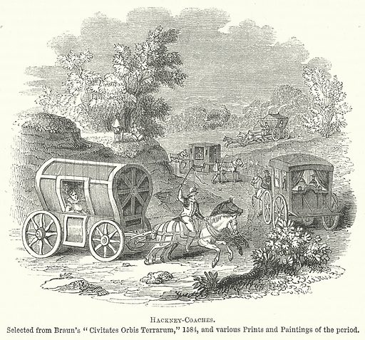 Hackney-Coaches. Illustration for The Pictorial History of England (W & R Chambers, 1858).