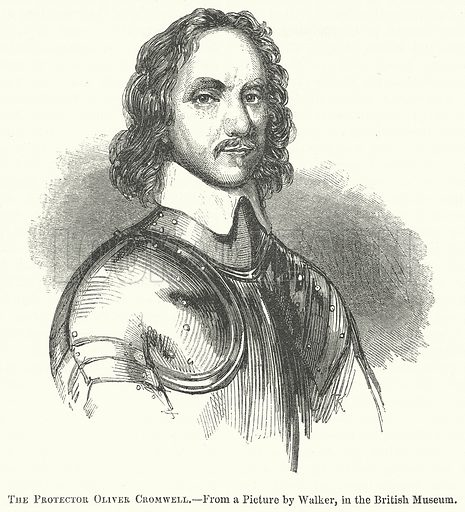 The Protector Oliver Cromwell. Illustration for The Pictorial History of England (W & R Chambers, 1858).