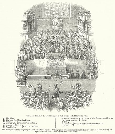 Trial of Charles I. Illustration for The Pictorial History of England (W & R Chambers, 1858).