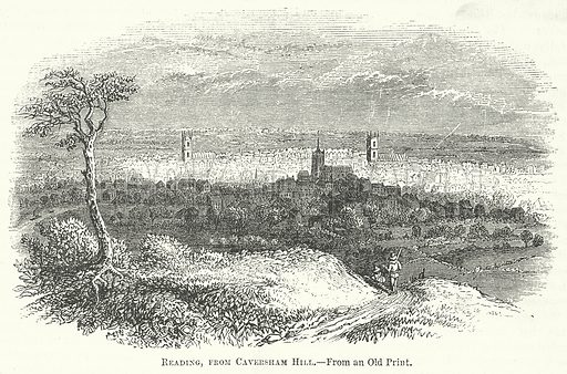 Reading, from Caversham Hill. Illustration for The Pictorial History of England (W & R Chambers, 1858).
