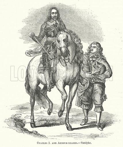 Charles I and Armour-Bearer. Illustration for The Pictorial History of England (W & R Chambers, 1858).