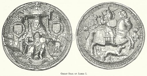 Great Seal of James I. Illustration for The Pictorial History of England (W & R Chambers, 1858).