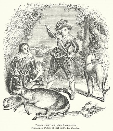 Prince Henry and Lord Harrington. Illustration for The Pictorial History of England (W & R Chambers, 1858).