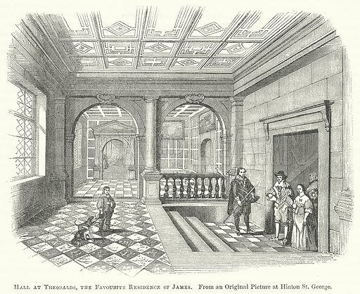 Hall at Theobalds, the Favourite Residence of James. Illustration for The Pictorial History of England (W & R Chambers, 1858).