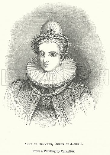 Anne of Denmark, Queen of James I. Illustration for The Pictorial History of England (W & R Chambers, 1858).