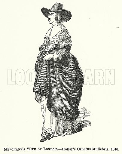 Merchant's Wife of London. Illustration for The Pictorial History of England (W & R Chambers, 1858).