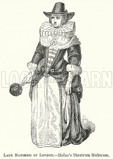 Lady Mayoress of London. Illustration for The Pictorial History of England (W & R Chambers, 1858).