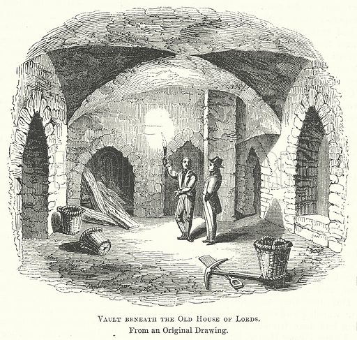 Vault Beneath the Old House of Lords. Illustration for The Pictorial History of England (W & R Chambers, 1858).