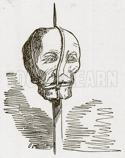Head. Illustration for The Tower of London by William Harrison Ainsworth (George Routledge, c 1880).
