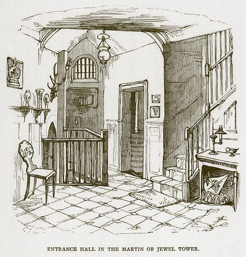 Entrance Hall in the Martin or Jewel Tower. Illustration for The Tower of London by William Harrison Ainsworth (George Routledge, c 1880).