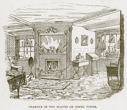 Chamber in the Martin or Jewel Tower. Illustration for The Tower of London by William Harrison Ainsworth (George Routledge, c 1880).