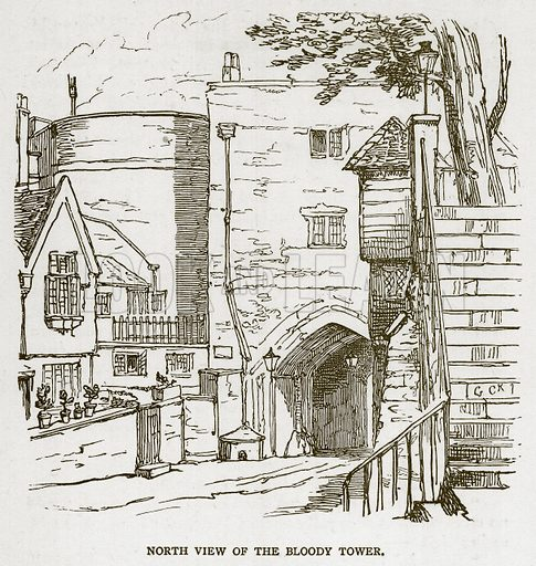 North View of the Bloody Tower. Illustration for The Tower of London by William Harrison Ainsworth (George Routledge, c 1880).