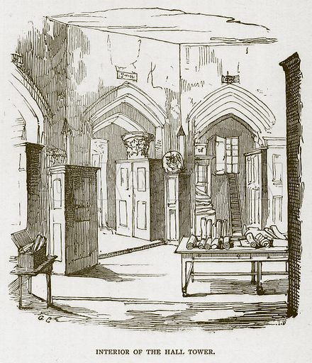 Interior of the Hall Tower. Illustration for The Tower of London by William Harrison Ainsworth (George Routledge, c 1880).
