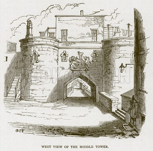 West View of the Middle Tower. Illustration for The Tower of London by William Harrison Ainsworth (George Routledge, c 1880).