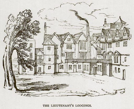 The Lieutenant's Lodgings. Illustration for The Tower of London by William Harrison Ainsworth (George Routledge, c 1880).