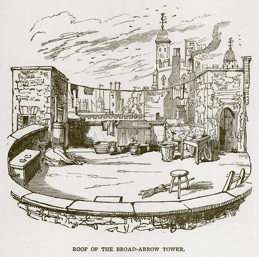 Roof of the Broad-Arrow Tower. Illustration for The Tower of London by William Harrison Ainsworth (George Routledge, c 1880).
