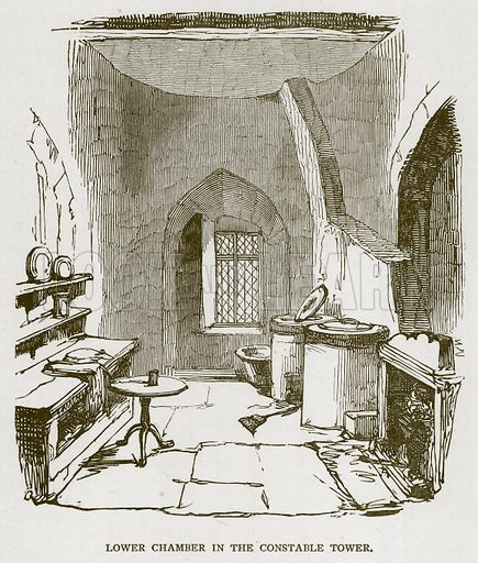 Lower Chamber in the Constable Tower. Illustration for The Tower of London by William Harrison Ainsworth (George Routledge, c 1880).