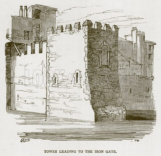 Tower leading to the Iron Gate. Illustration for The Tower of London by William Harrison Ainsworth (George Routledge, c 1880).