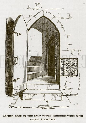 Arched Door in the Salt Tower Communicating with Secret Staircase. Illustration for The Tower of London by William Harrison Ainsworth (George Routledge, c 1880).