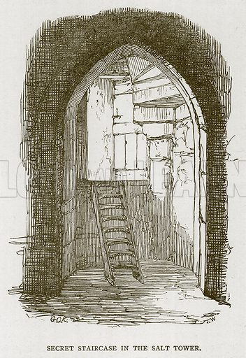 Secret Staircase in the Salt Tower. Illustration for The Tower of London by William Harrison Ainsworth (George Routledge, c 1880).