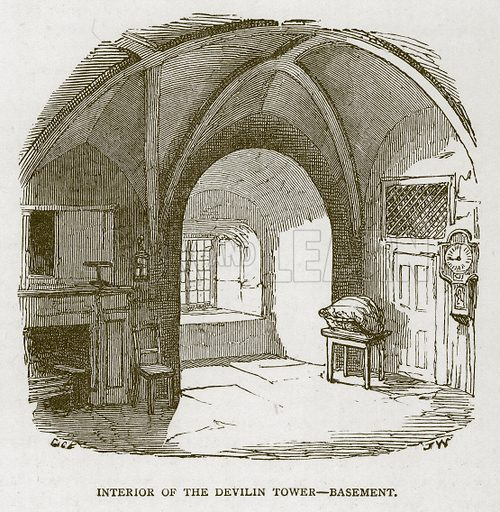 Interior of the Devilin Tower – Basement. Illustration for The Tower of London by William Harrison Ainsworth (George Routledge, c 1880).