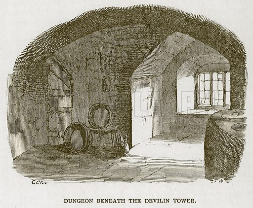 Dungeon Beneath the Devilin Tower. Illustration for The Tower of London by William Harrison Ainsworth (George Routledge, c 1880).