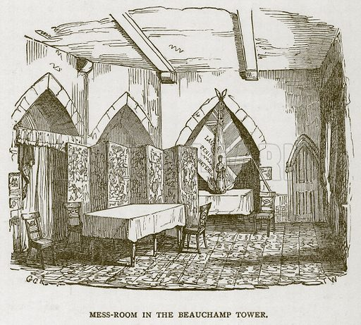 Mess-Room in the Beauchamp Tower. Illustration for The Tower of London by William Harrison Ainsworth (George Routledge, c 1880).