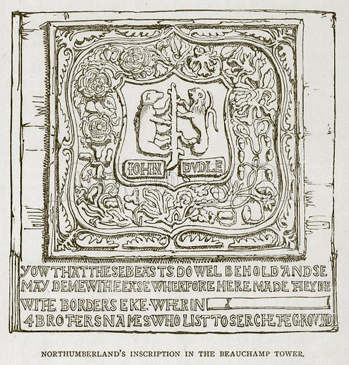 Northumberland's Inscription in the Beauchamp Tower. Illustration for The Tower of London by William Harrison Ainsworth (George Routledge, c 1880).