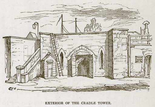 Exterior of the Cradle Tower. Illustration for The Tower of London by William Harrison Ainsworth (George Routledge, c 1880).