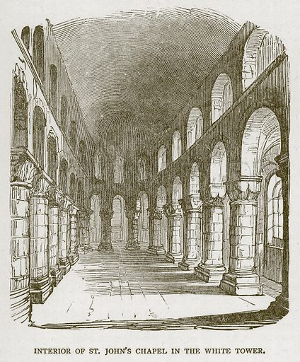 Interior of St John's Chapel in the White Tower. Illustration for The Tower of London by William Harrison Ainsworth (George Routledge, c 1880).