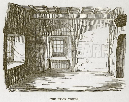 The Brick Tower. Illustration for The Tower of London by William Harrison Ainsworth (George Routledge, c 1880).