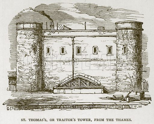 St Thomas's, or Traitor's Tower, from the Thames. Illustration for The Tower of London by William Harrison Ainsworth (George Routledge, c 1880).