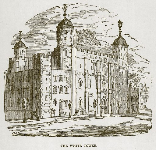 The White Tower. Illustration for The Tower of London by William Harrison Ainsworth (George Routledge, c 1880).