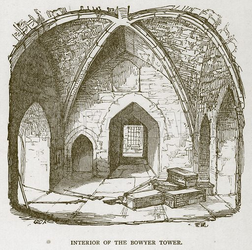 Interior of the Bowyer Tower. Illustration for The Tower of London by William Harrison Ainsworth (George Routledge, c 1880).