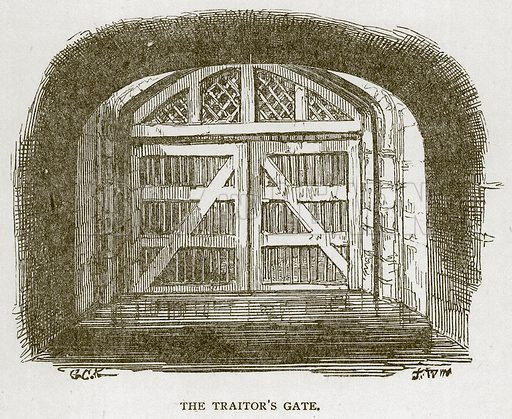 The Traitor's Gate. Illustration for The Tower of London by William Harrison Ainsworth (George Routledge, c 1880).