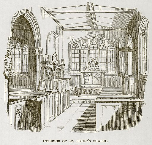 Interior of St Peter's Chapel. Illustration for The Tower of London by William Harrison Ainsworth (George Routledge, c 1880).