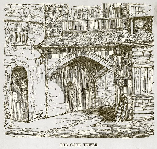 The Gate Tower. Illustration for The Tower of London by William Harrison Ainsworth (George Routledge, c 1880).