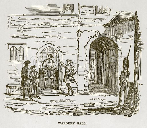 Warders' Hall. Illustration for The Tower of London by William Harrison Ainsworth (George Routledge, c 1880).