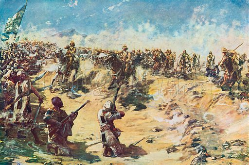 The Charge of the 21st Lancers at Omdurman, April 8th, 1898. Illustration for British Battles on Land and Sea by Sir Evelyn Wood (Cassell, 1915).