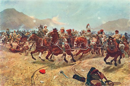Saving the Guns at Maiwand, July 17th, 1880. Illustration for British Battles on Land and Sea by Sir Evelyn Wood (Cassell, 1915).